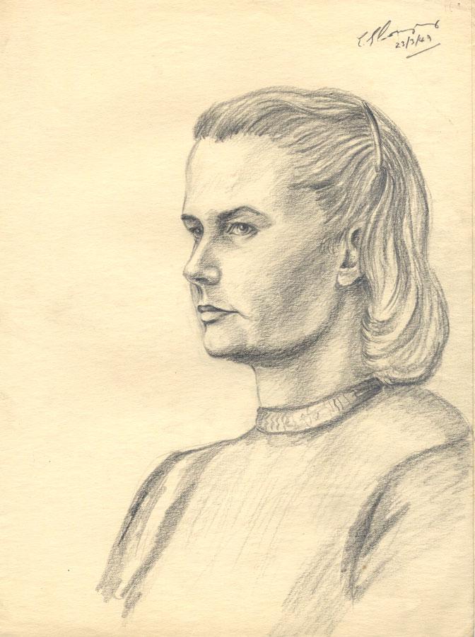 E. Gaston Longney - 1949 Graphite Drawing, Portrait of a Woman