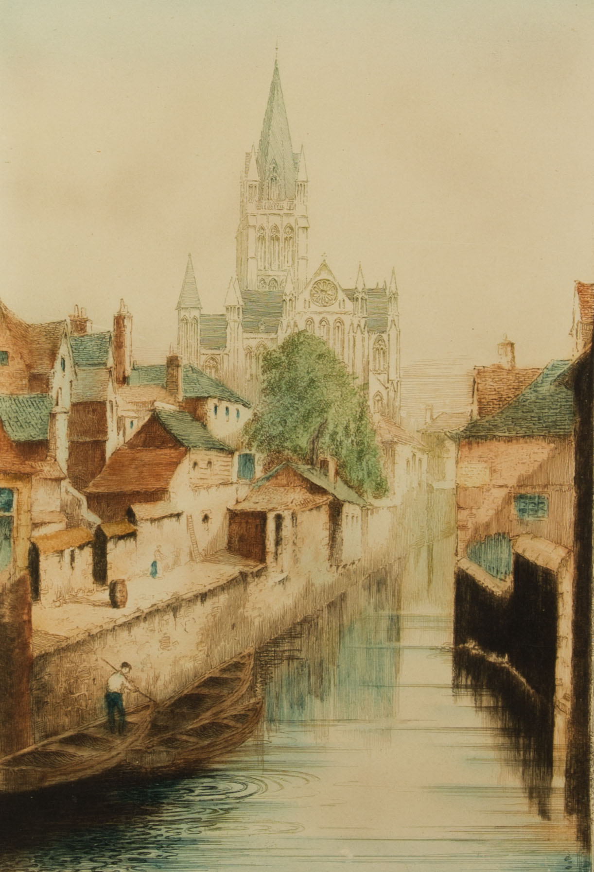 Early 20th Century Etching - Canal Scene with Cathedral