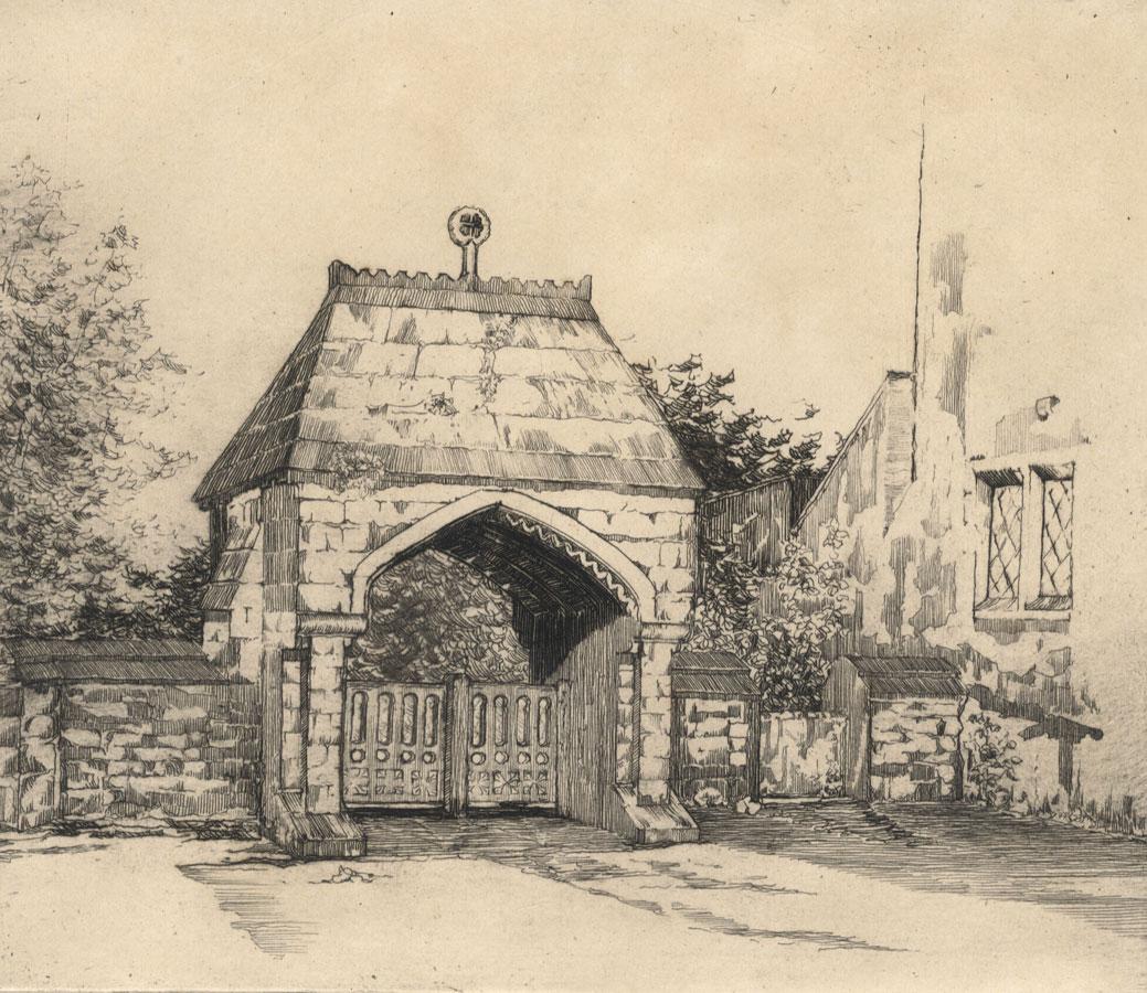 Betty R. Thomas - Early 20th Century Etching, The Lych Gate, Llandaff