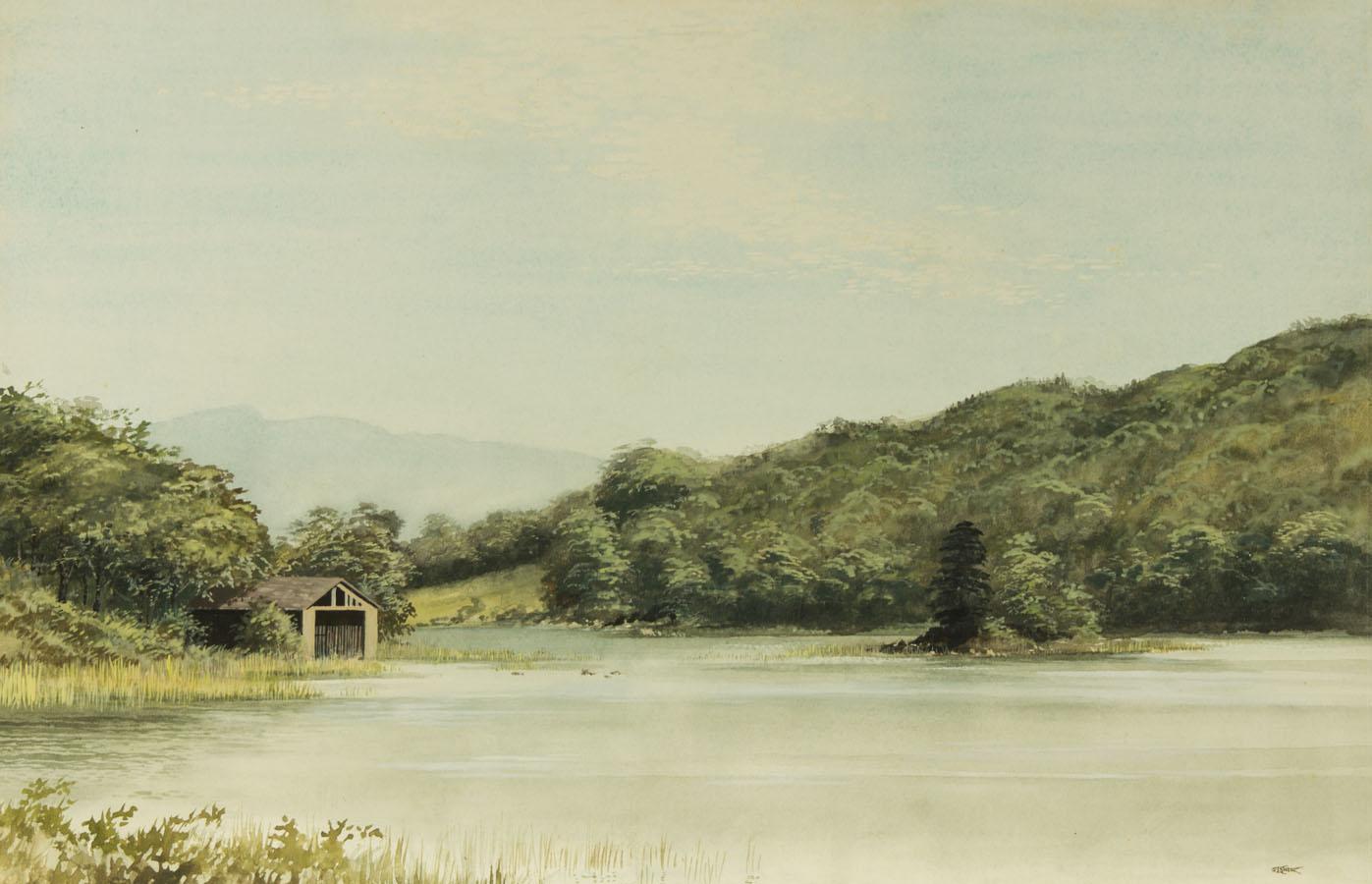 Walkden Fisher (1913-1979) FRSA  - 1972 Gouache, Rydal Water