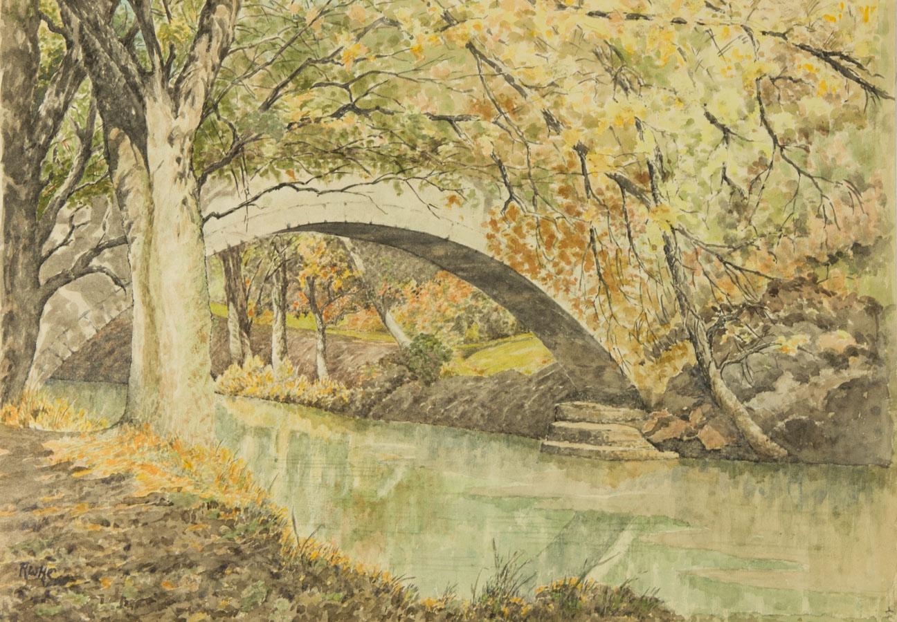 Richard Collins - Contemporary Watercolour, Beggars Bridge, River Esk