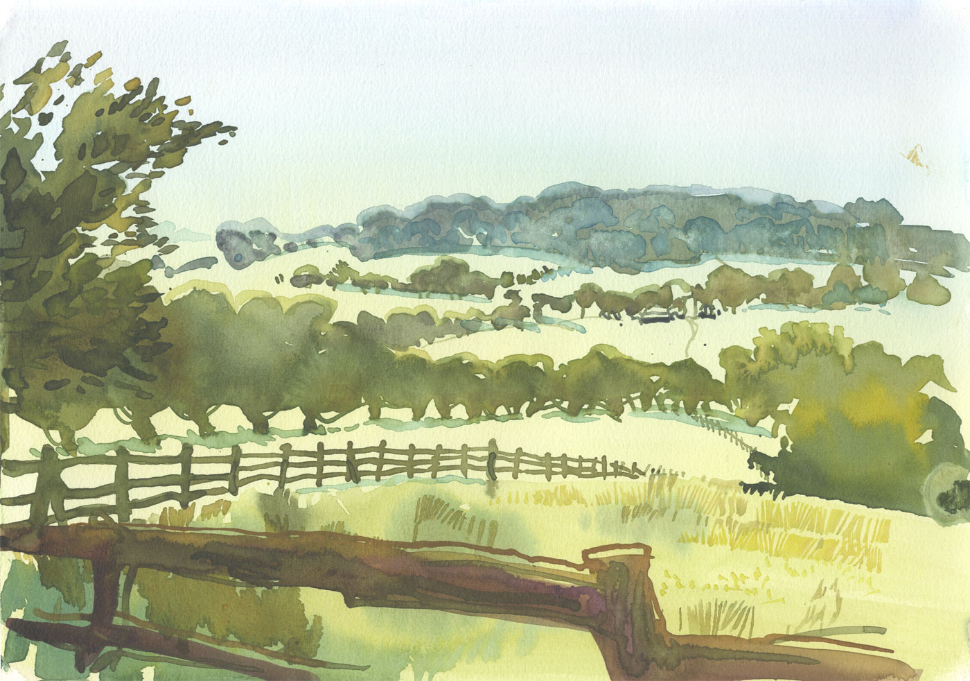 Robert T. Blayney (1929-2016) - Mid 20th Century Watercolour, Country Fields