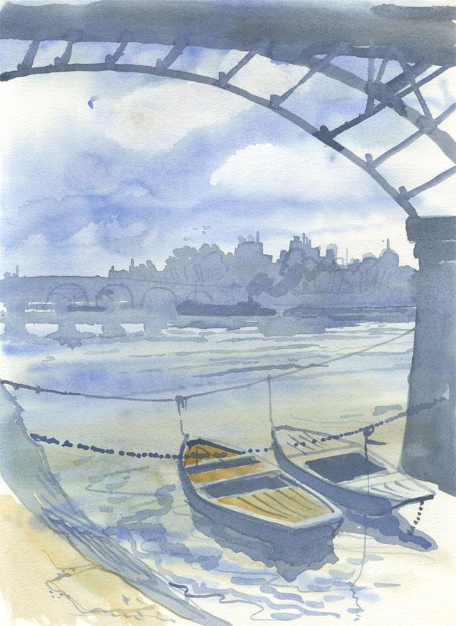 Robert T. Blayney (1929-2016) - Mid 20th Century Watercolour, Boats and Bridges