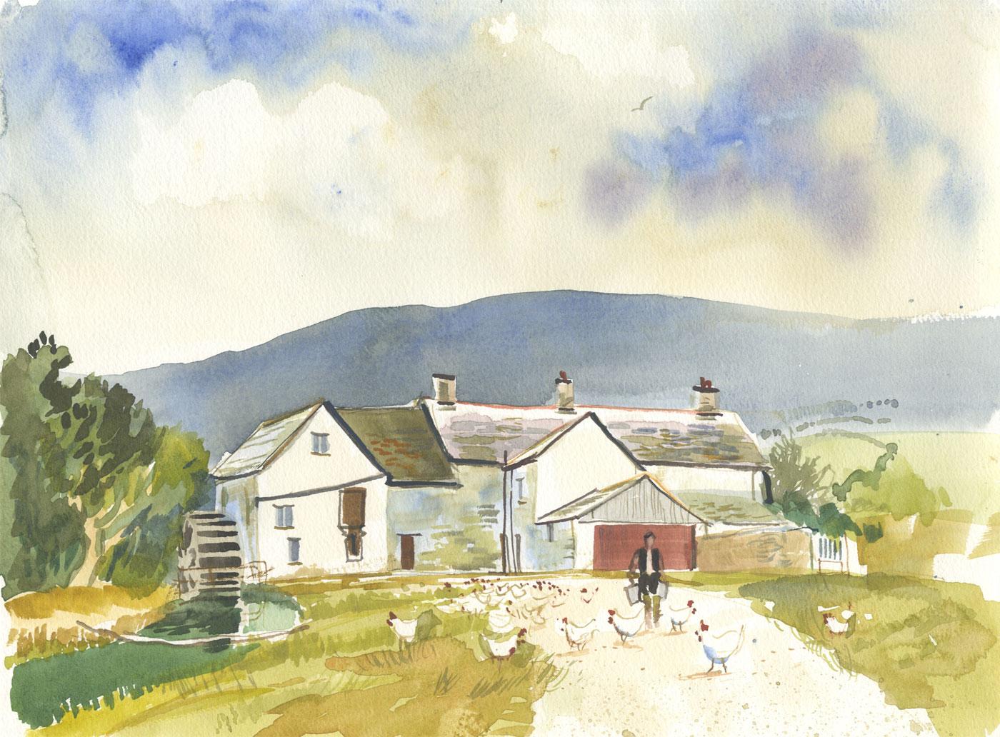 Robert T. Blayney (1929-2016) - Mid 20th Century Watercolour, Feeding Chickens
