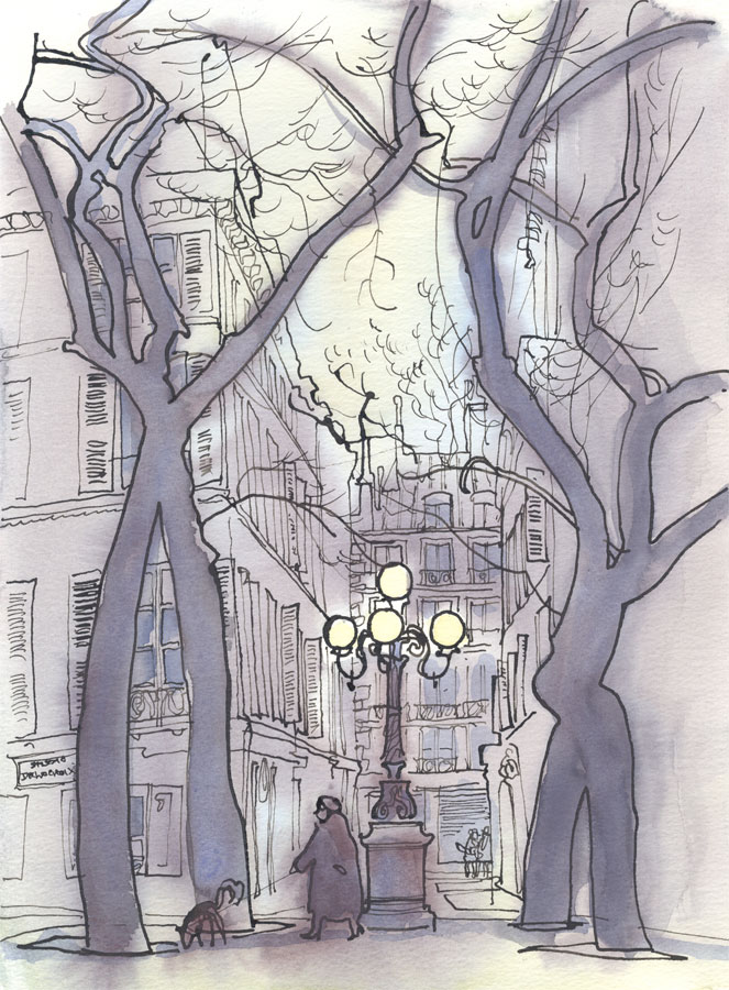 Robert T. Blayney (1929-2016) - Mid 20th Century Watercolour, Evening Street
