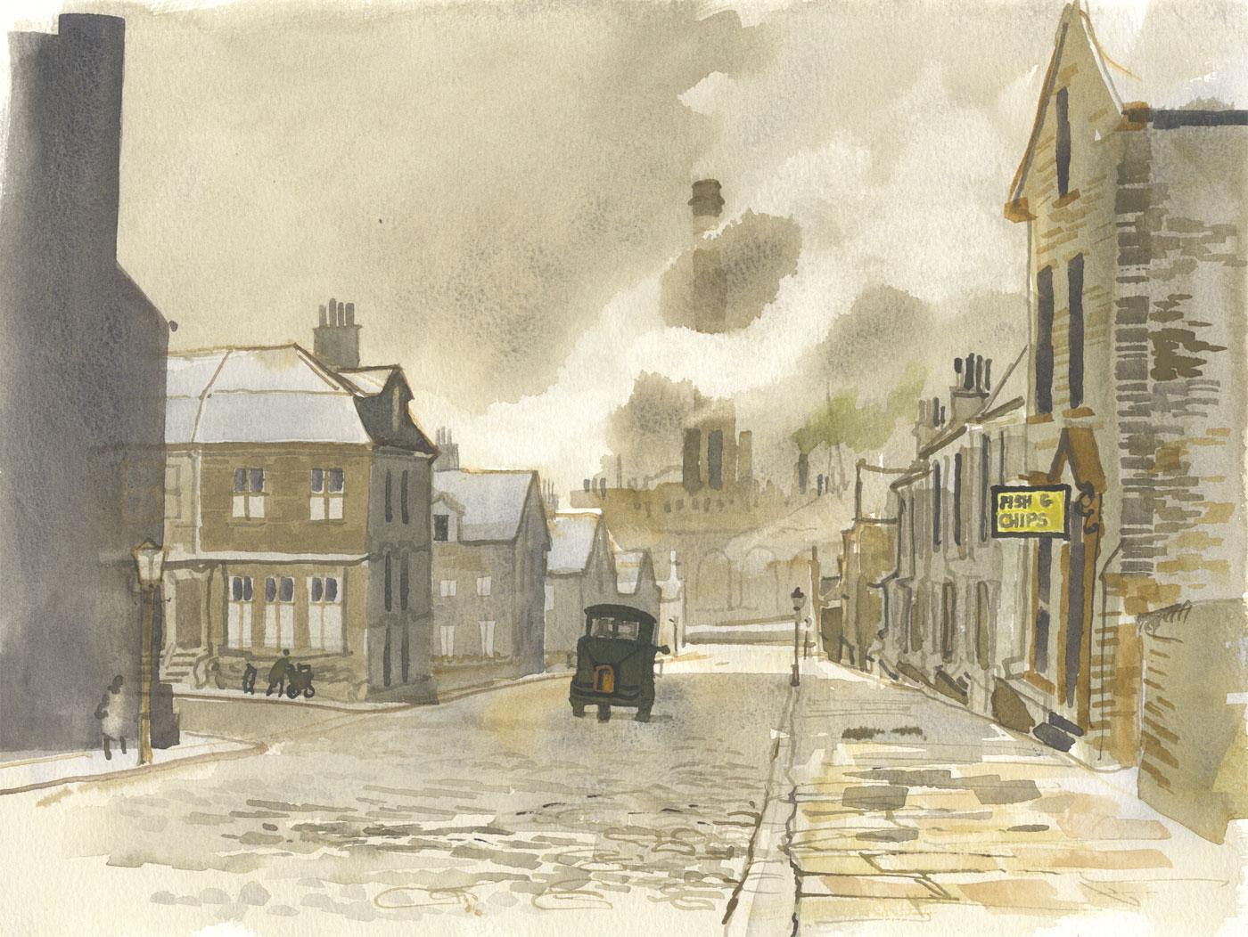 Robert T. Blayney (1929-2016) - Mid 20th Century Watercolour, Town Street