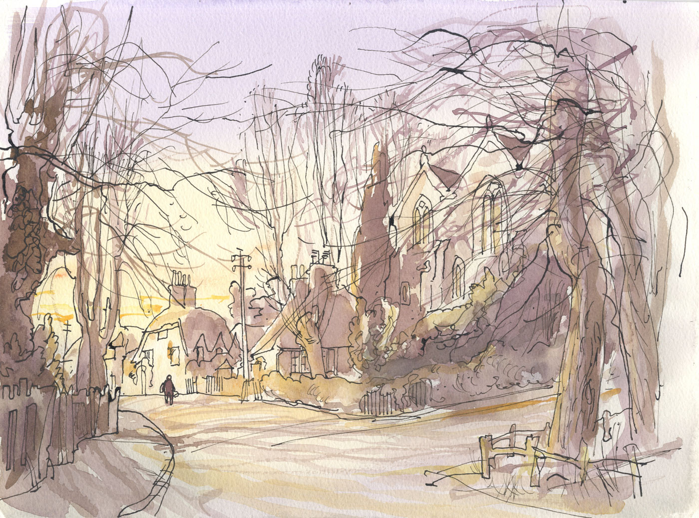 Robert T. Blayney (1929-2016) - Mid 20th Century Watercolour, Figure in a Lane