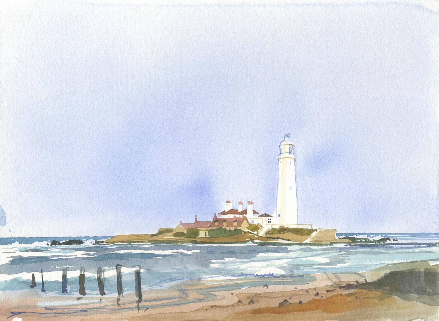 Robert T. Blayney (1929-2016) - Mid 20th Century Watercolour, Lighthouse View