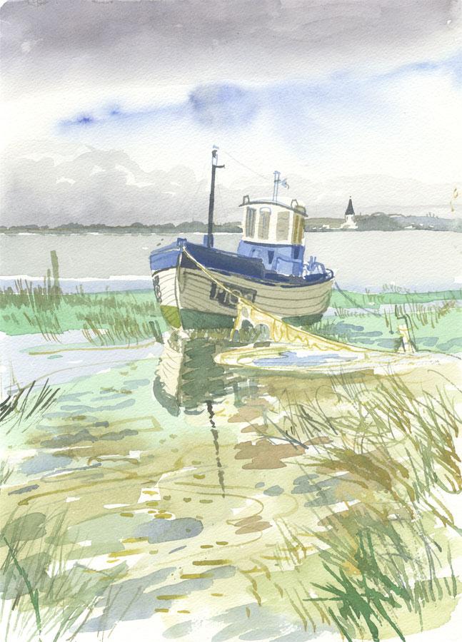 Robert T. Blayney (1929-2016) - Mid 20th Century Watercolour, Boat View