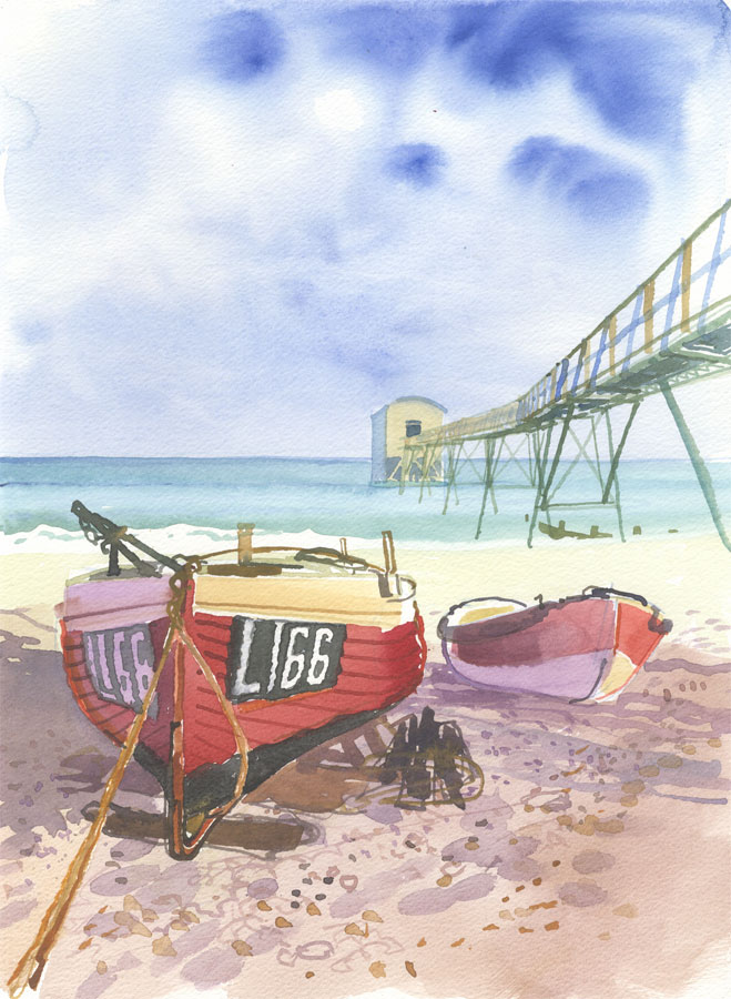 Robert T. Blayney (1929-2016) - Mid 20th Century Watercolour, Beach Boats