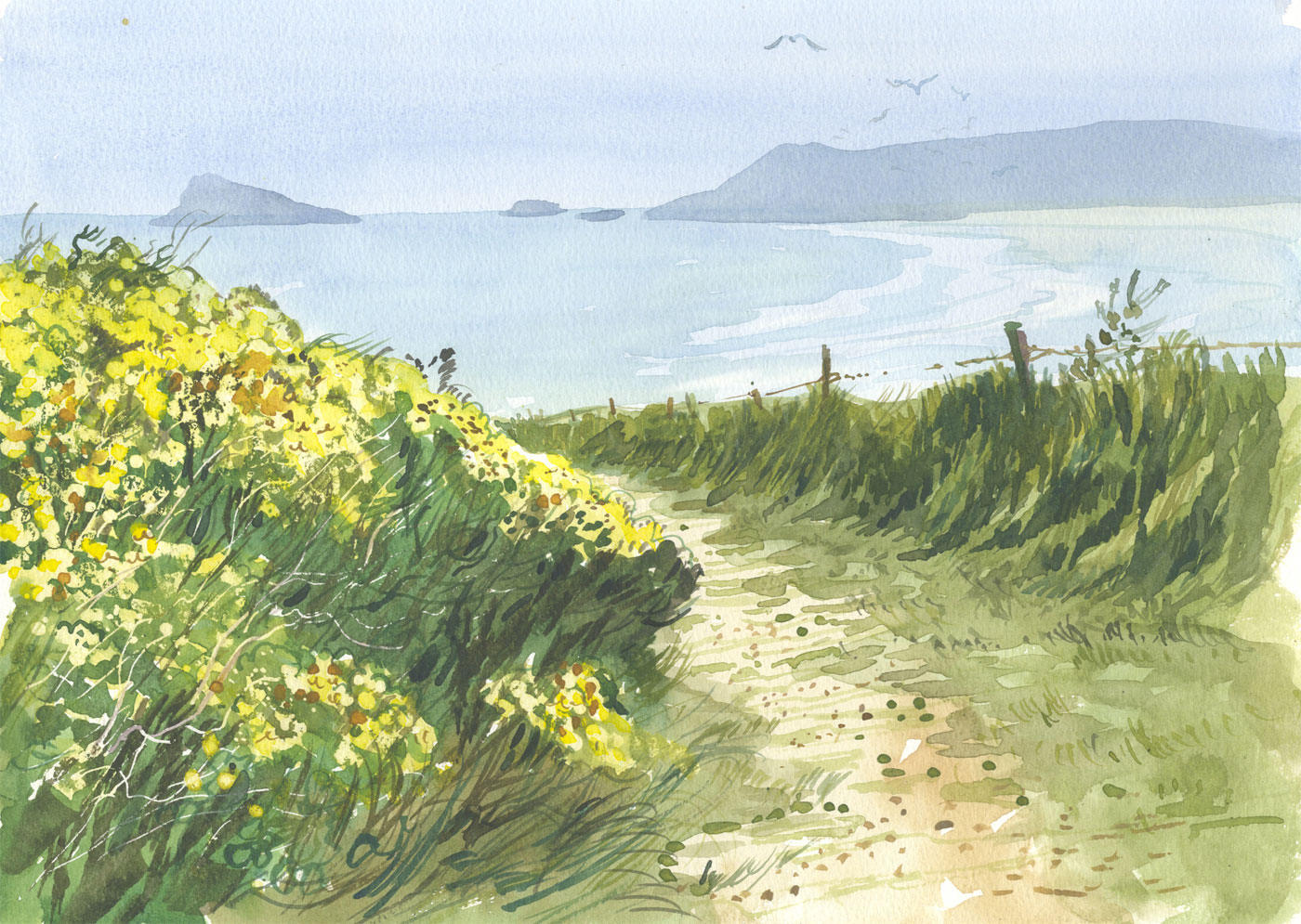 Robert T. Blayney (1929-2016) - Mid 20th Century Watercolour, Towards the Beach