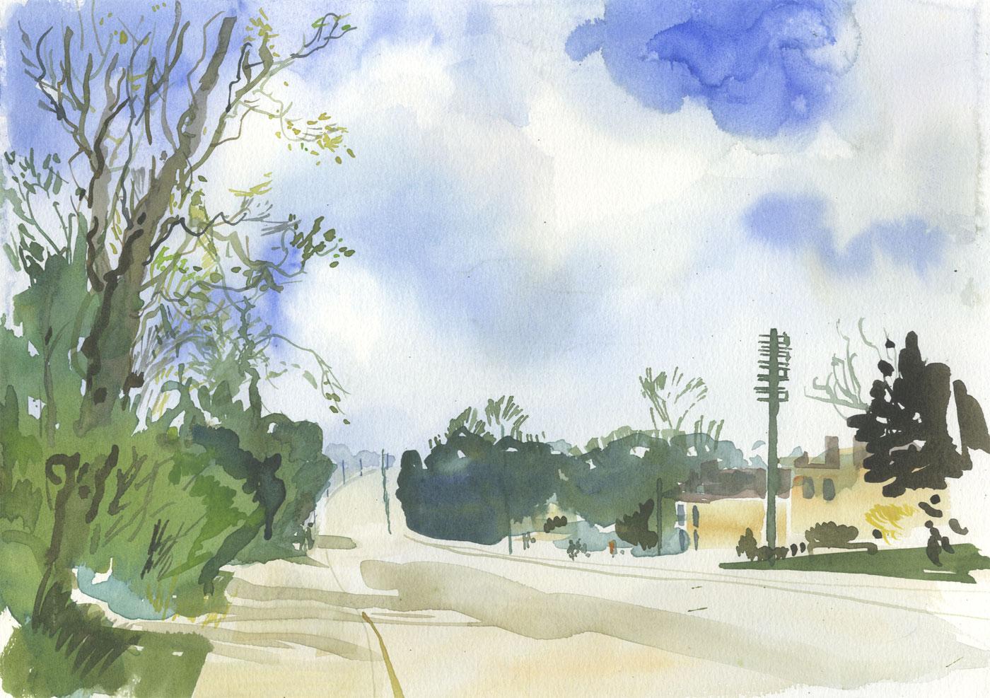 Robert T. Blayney (1929-2016) - Mid 20th Century Watercolour, Wide Road