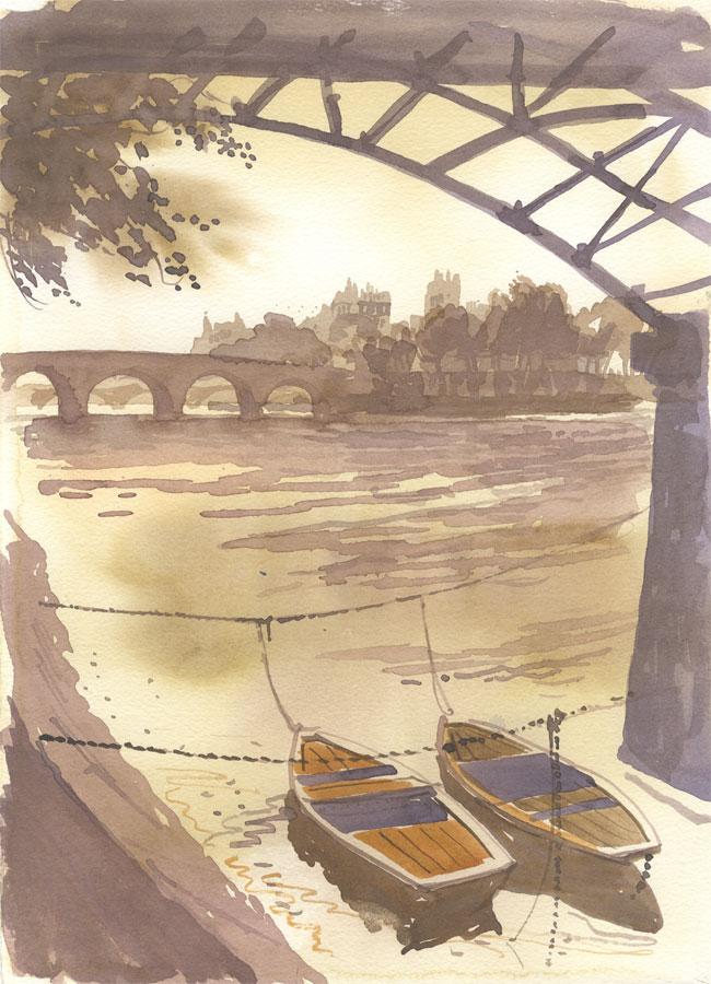 Robert T. Blayney (1929-2016) - Mid 20th Century Watercolour, Boats under Bridge