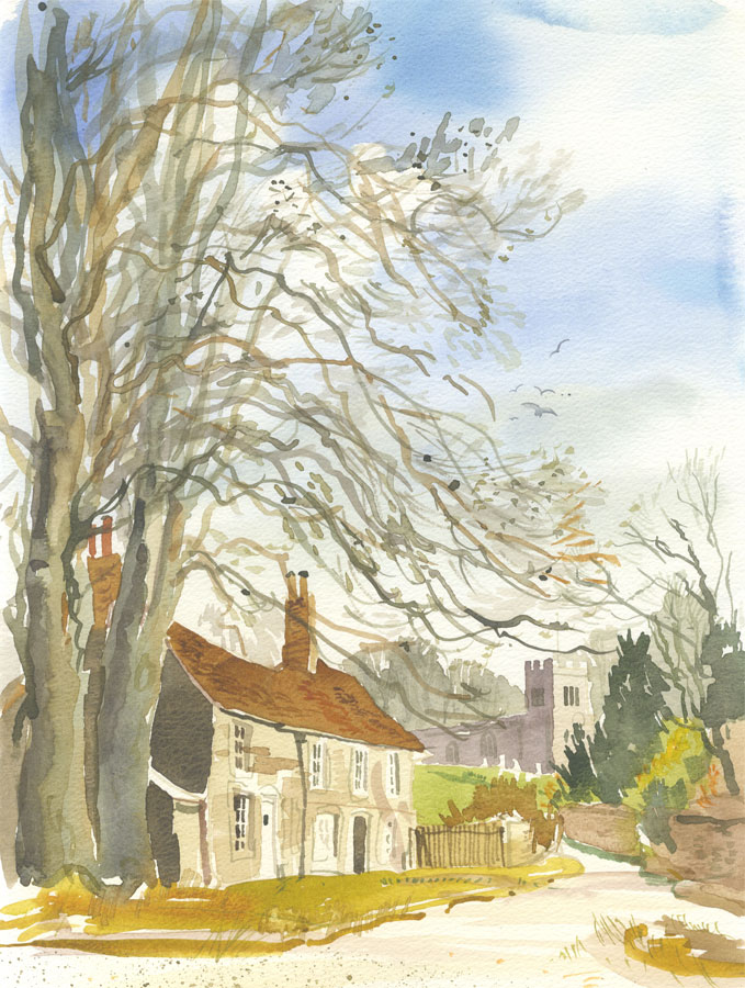 Robert T. Blayney (1929-2016) - Mid 20th Century Watercolour, Church Lane