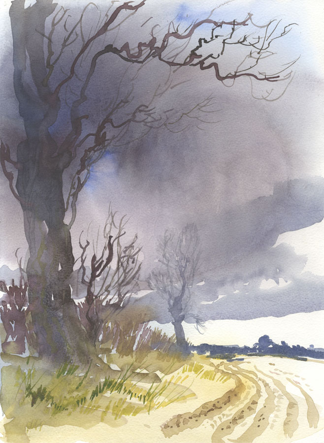 Robert T. Blayney (1929-2016) - Mid 20th Century Watercolour, Trees by Field