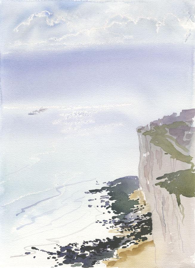 Robert T. Blayney (1929-2016) - Mid 20th Century Watercolour, Coastal Cliff