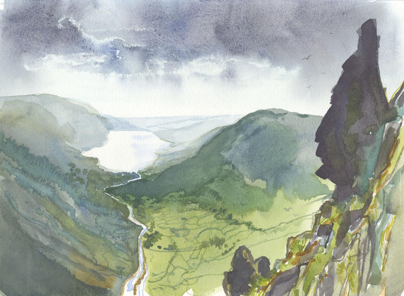 Robert T. Blayney (1929-2016) - Mid 20th Century Watercolour, Valley View