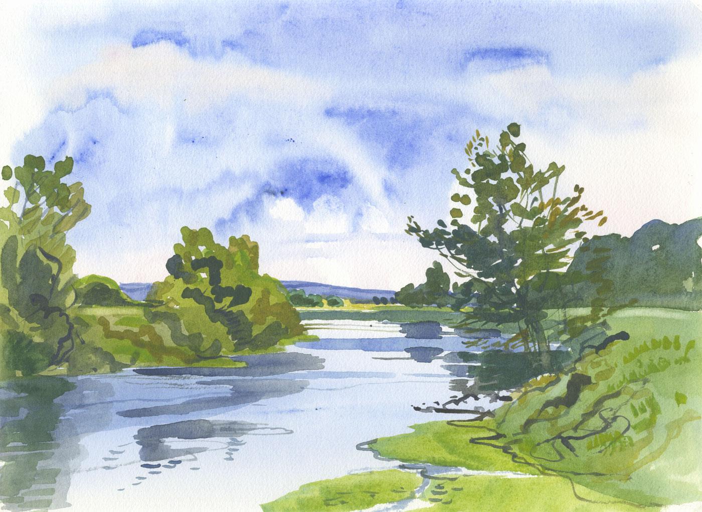 Robert T. Blayney (1929-2016) - Mid 20th Century Watercolour, River View