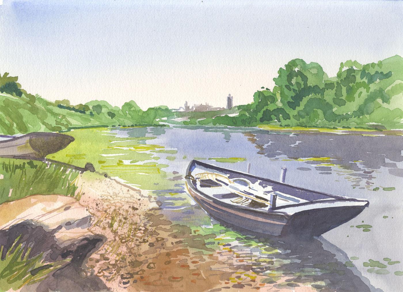 Robert T. Blayney (1929-2016) - Mid 20th Century Watercolour, Boat in River