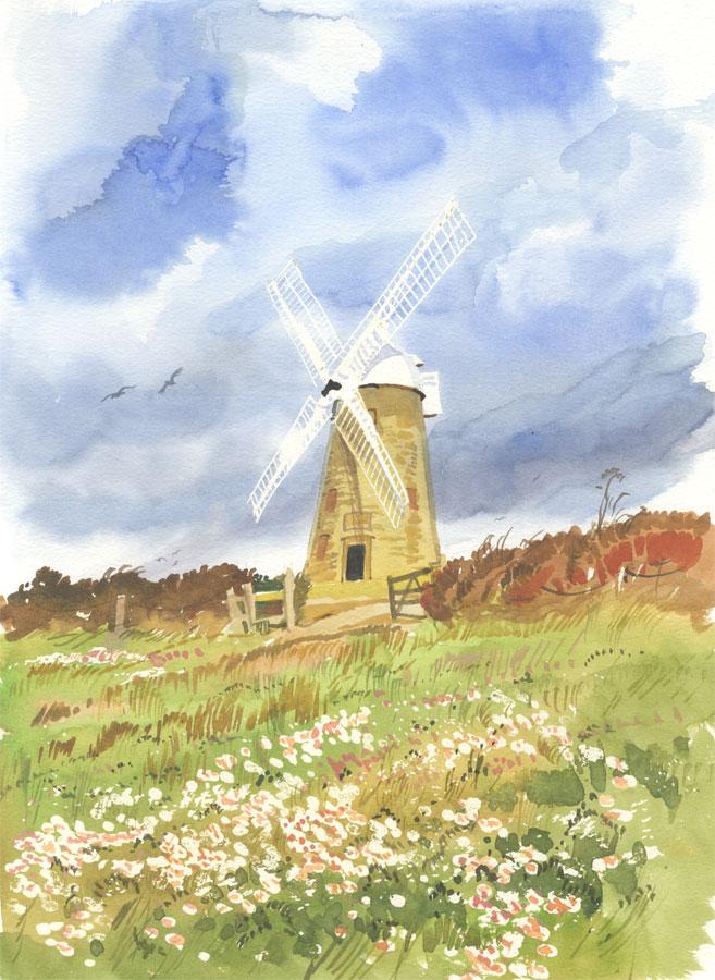 Robert T. Blayney (1929-2016) - Mid 20th Century Watercolour, Windmill View