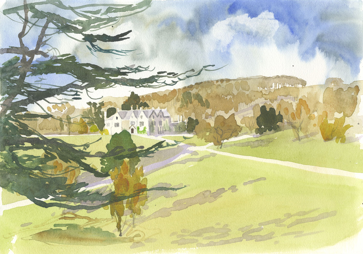 Robert T. Blayney (1929-2016) - Mid 20th Century Watercolour, Estate Grounds