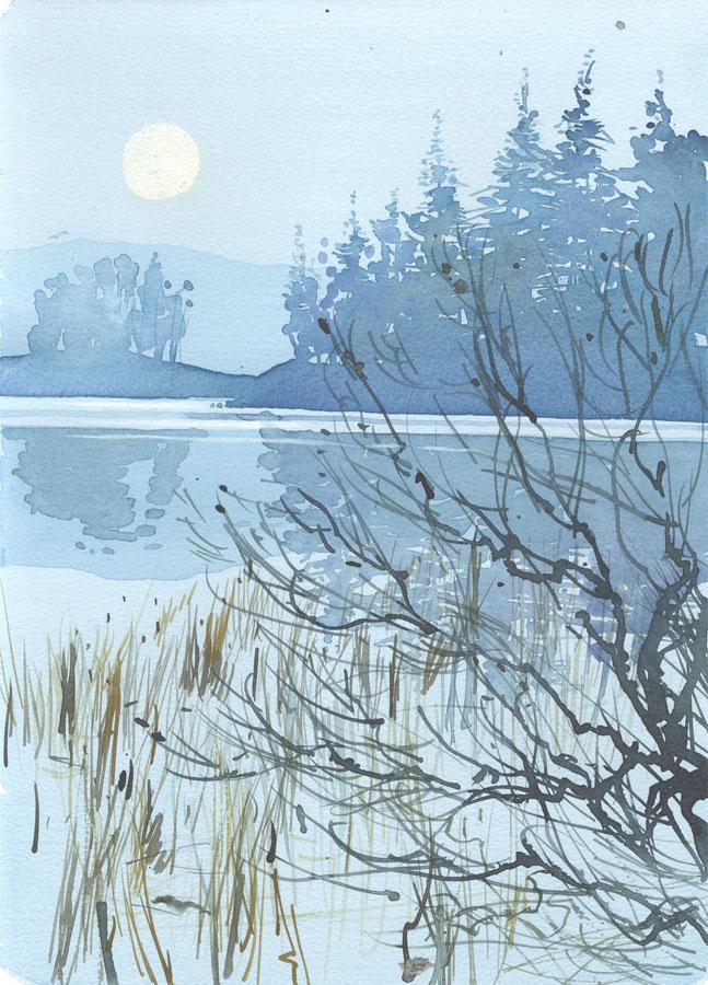 Robert T. Blayney (1929-2016) - Mid 20th Century Watercolour, Moonlight