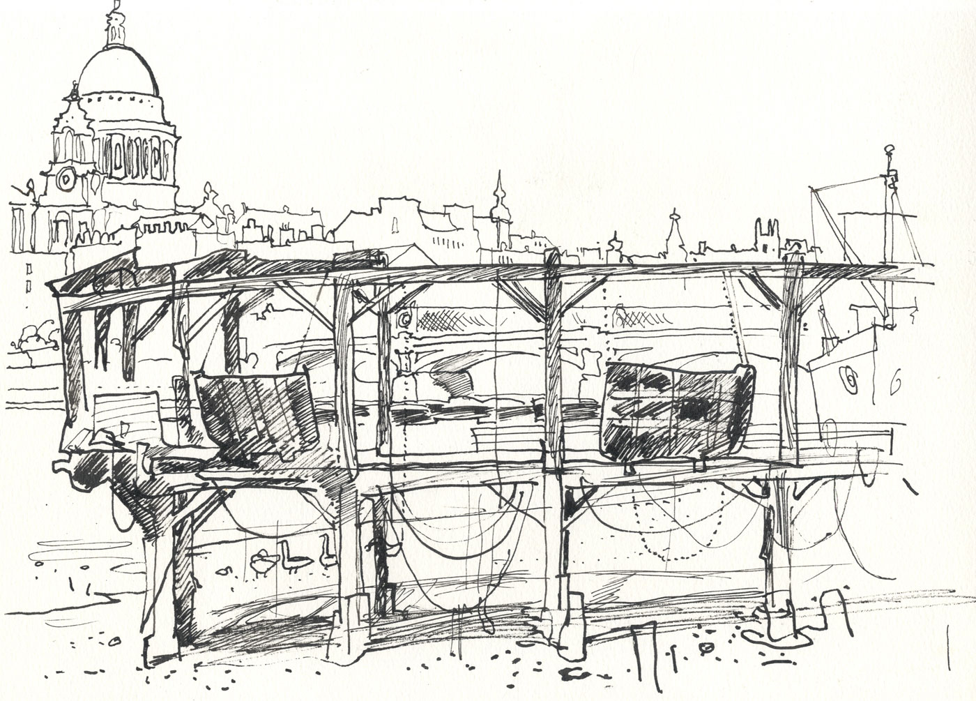 Robert T. Blayney (1929-2016) - Mid 20th Century Pen and Ink Drawing, St Paul's