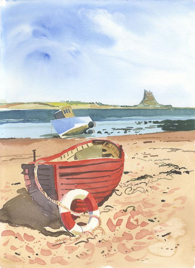 Robert T. Blayney (1929-2016) - Mid 20th Century Watercolour, Red Boat
