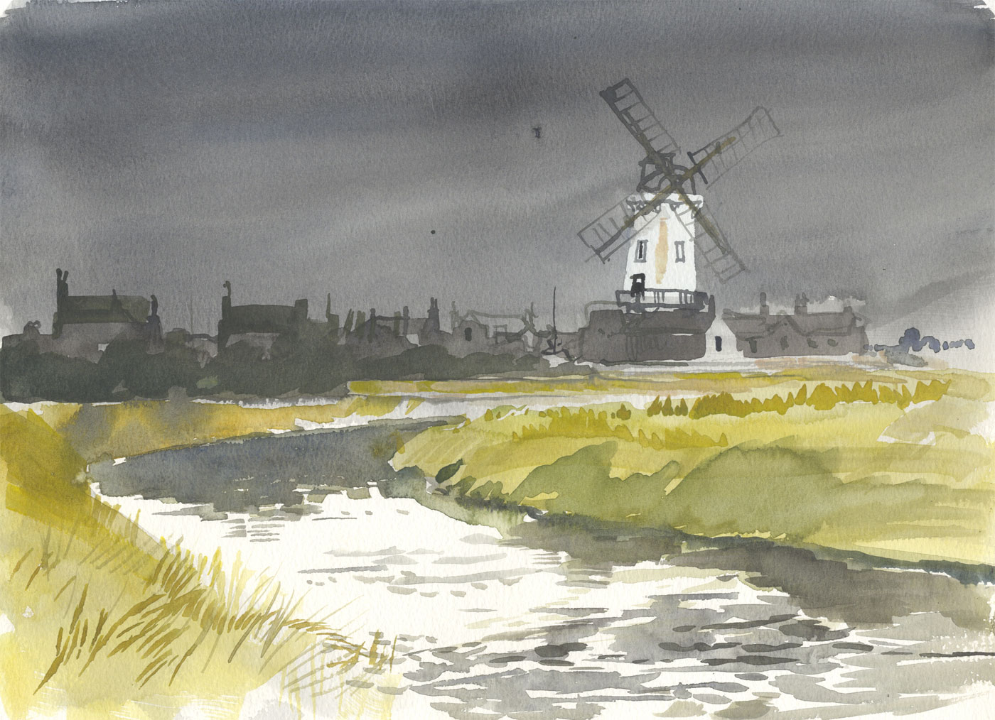 Robert T. Blayney (1929-2016) - Mid 20th Century Watercolour, Windmill and River