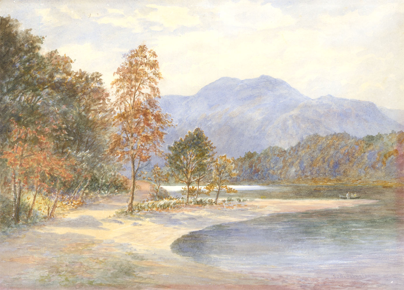 Robert Brown Johnston (1840-1914) - Signed Watercolour, Loch Katrine