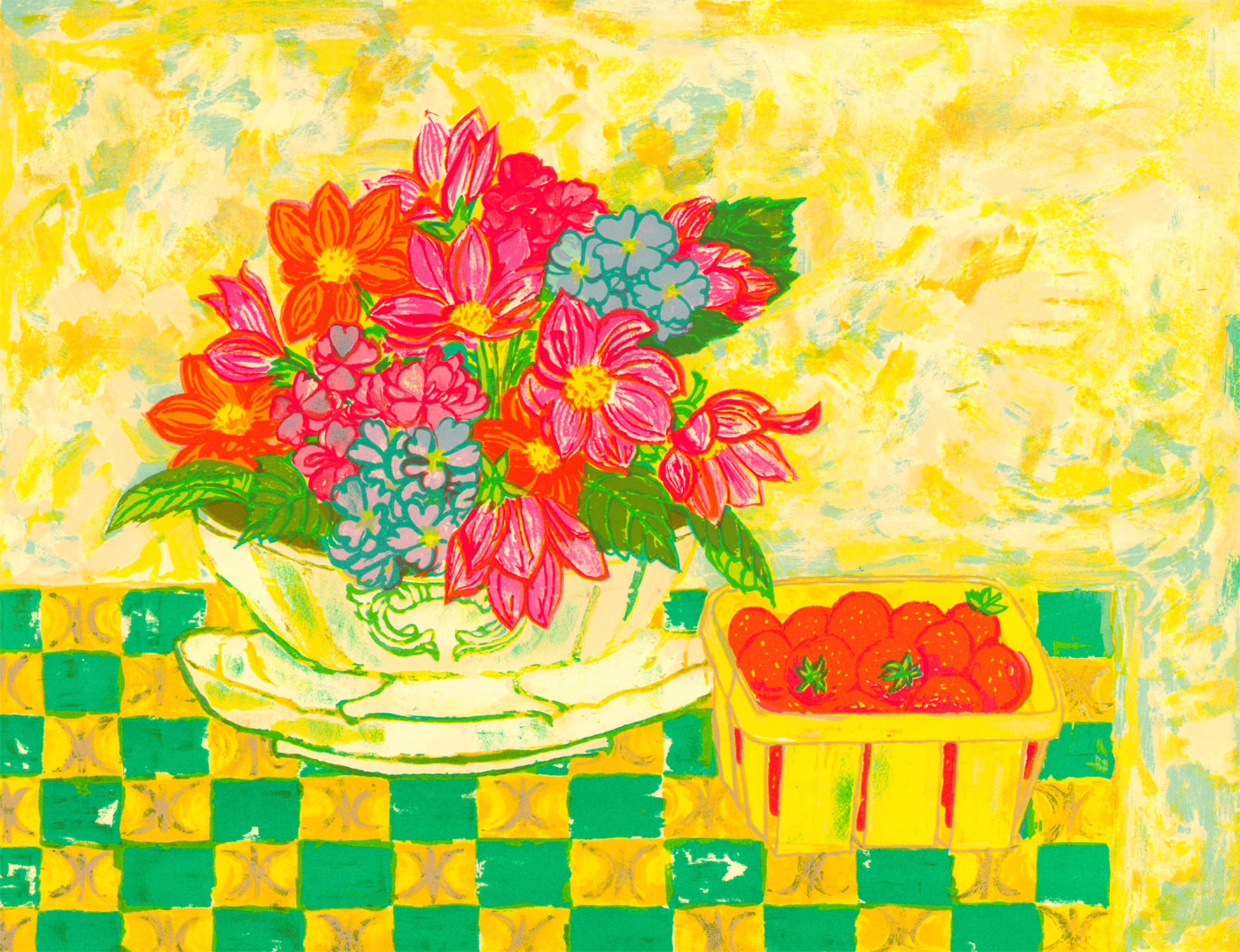 Contemporary, Signed, Limited Edition Lithograph - Still Life with Flowers
