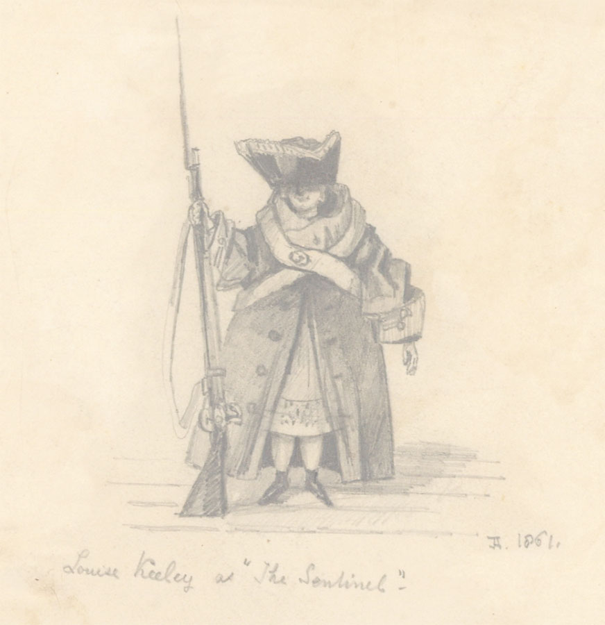 """1861 Graphite Drawing - Louise Keeley as """"The Sentinel"""""""