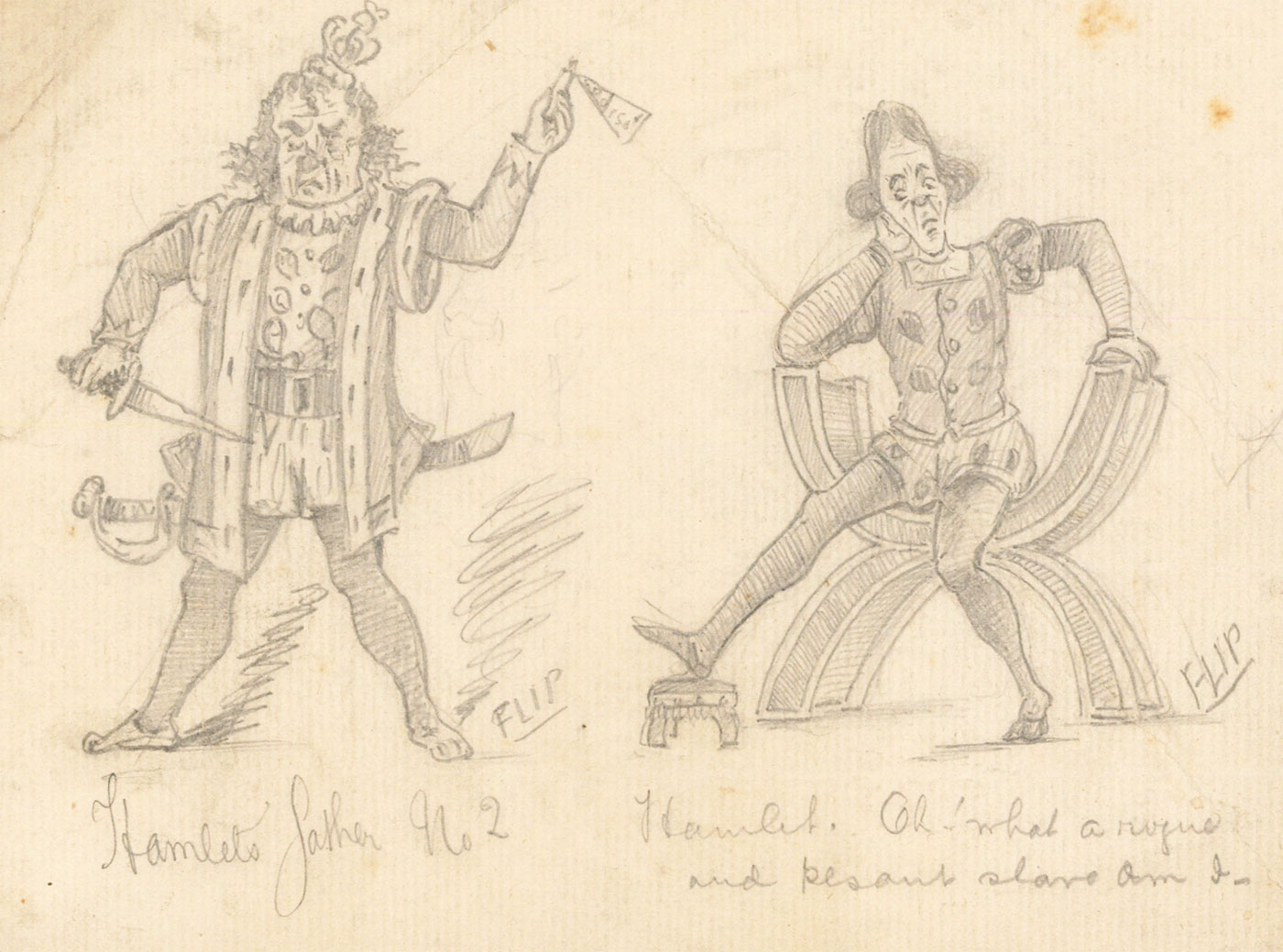 Flip - Early 20th Century Graphite Drawing, Costume Designs for Hamlet