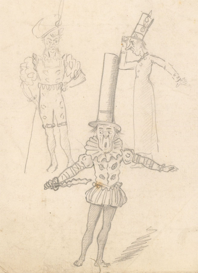Flip - Early 20th Century Graphite Drawing, Costume Designs