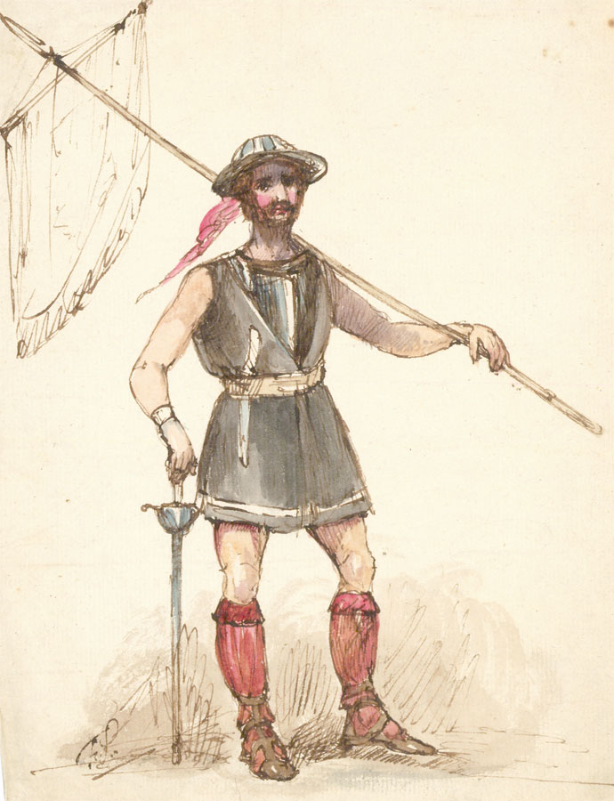 19th Century Pen and Ink Drawing - Highland Soldier