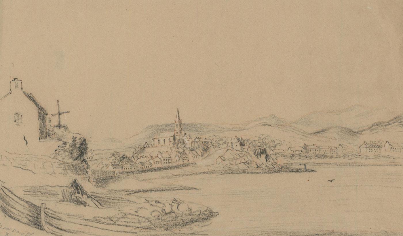 Lady Anne Ley - Early 20th Century Charcoal Drawing, Irish Coastal Scene