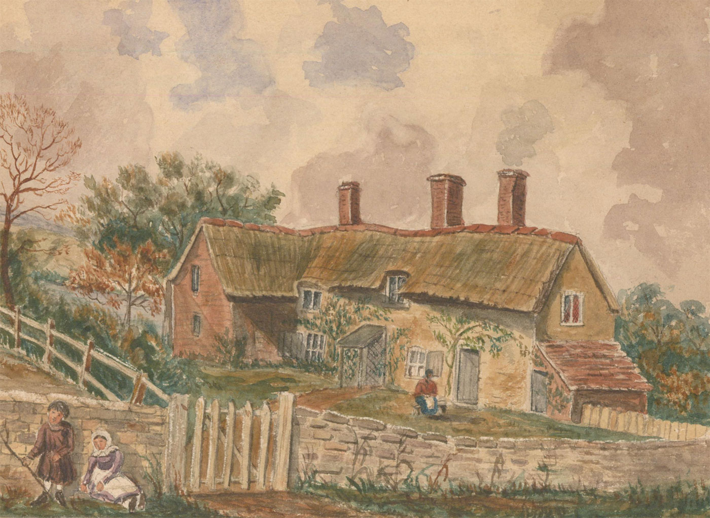 Early 20th Century Watercolour - Rustic Cottage Scene