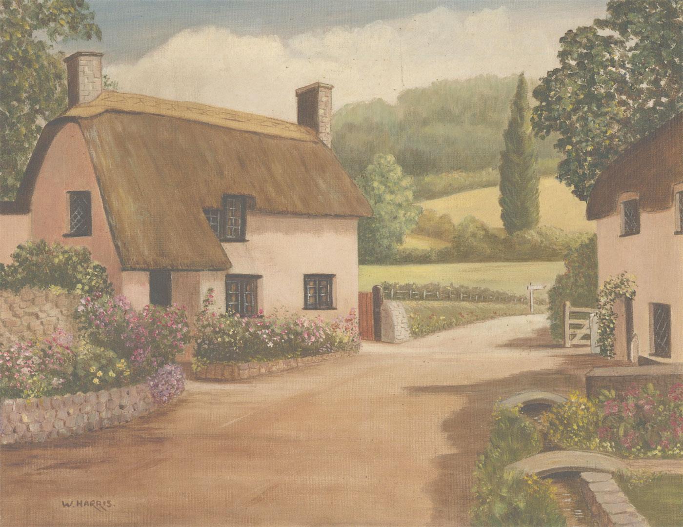 W. Harris - Signed 20th Century Acrylic, English Cottage Street Scene