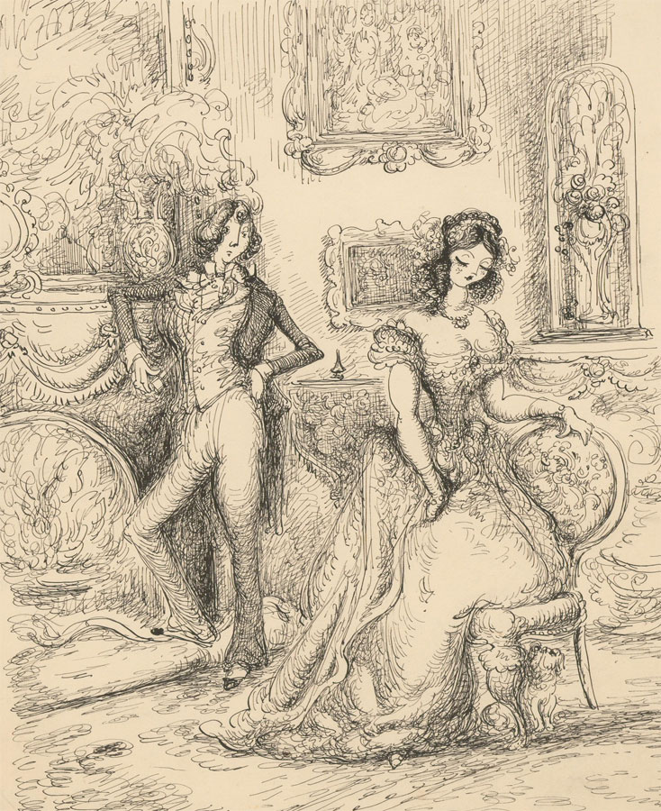 Harold Hope Read (1881-1959) - Pen and Ink Drawing, A Victorian Couple
