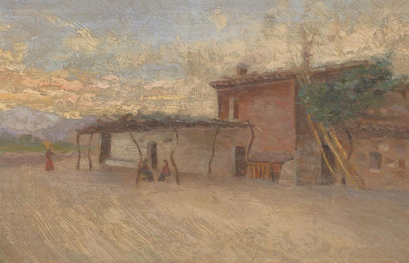 Fine Early 20th Century Oil - Italian Countryside Farm