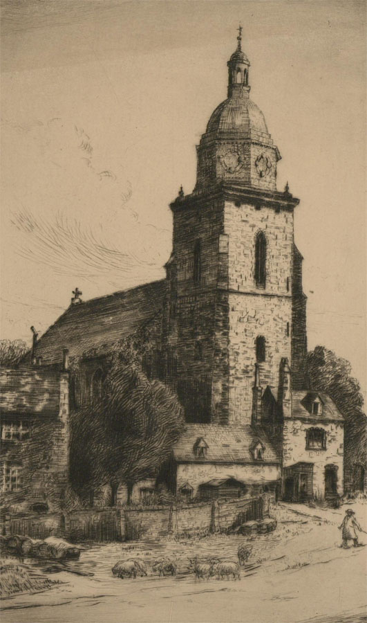 James A. Dion - Early 20th Century Etching, Rural Church Scene, Upton on Severn