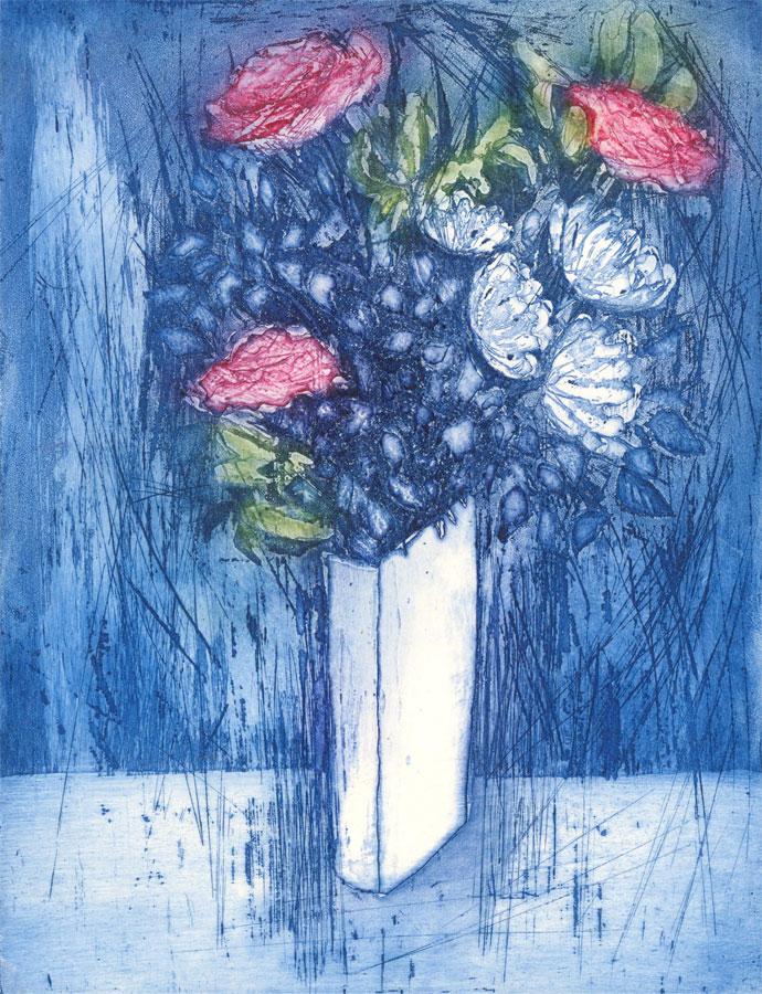 Barbara Gleason - 1989 Etching, Still Life in Blue