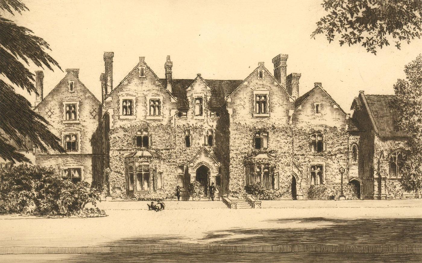 Charles Herbert Clark (b. 1890) - 20th Century Etching, Victorian Country House