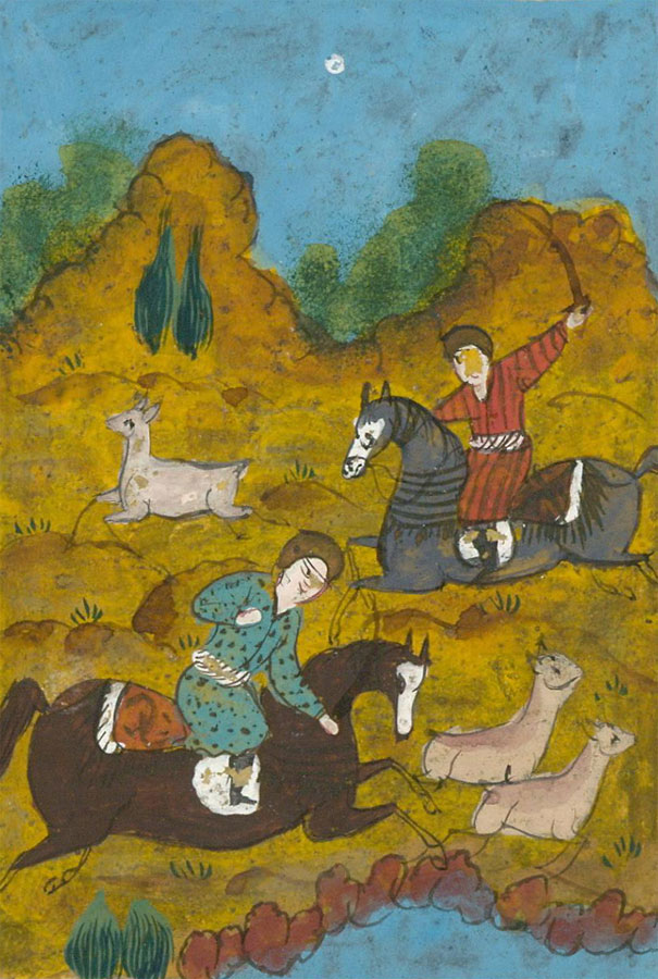 Indian Miniatures - Late 19th Century Gouache, Hunting Scene