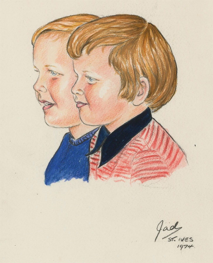 Jad Davies (1909-1998) - Mid 20th Century Watercolour, Two Young Boys