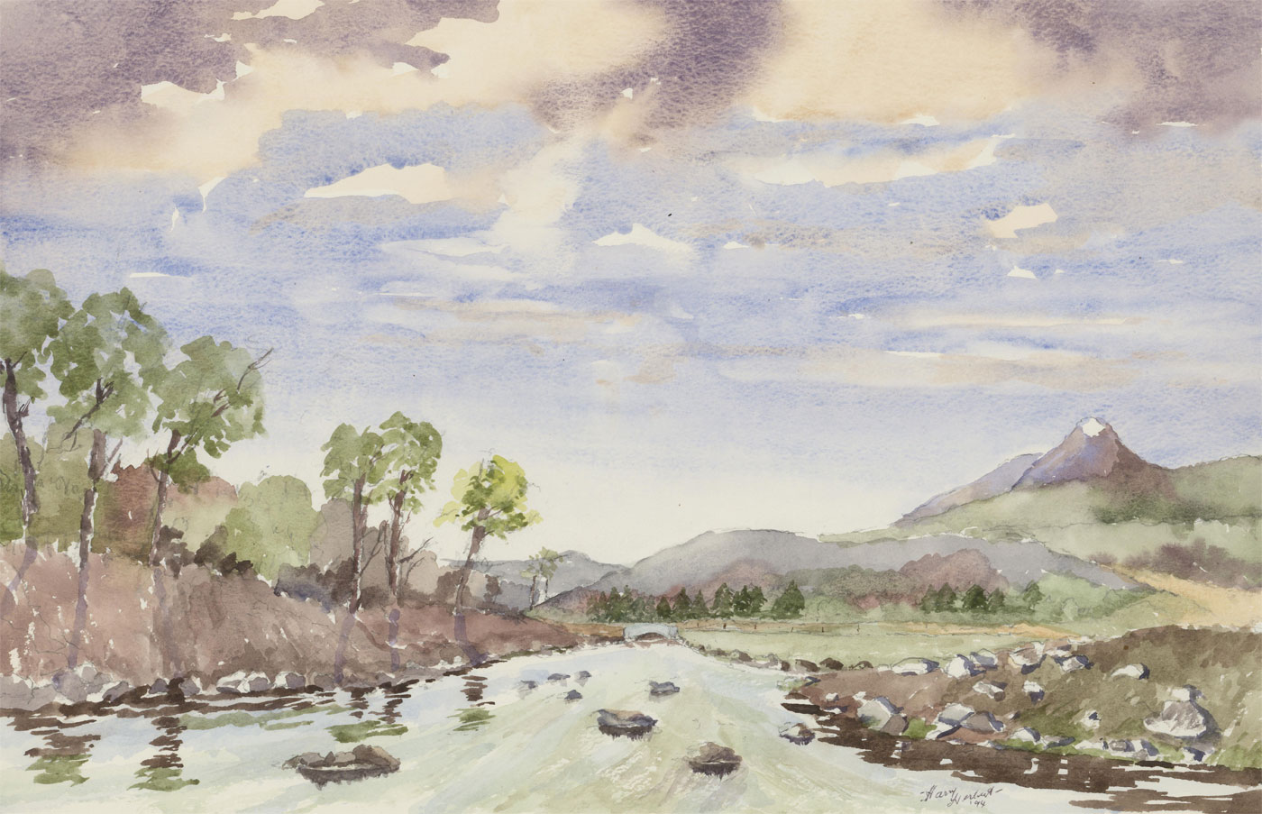 Harry Herbert - Signed 1994 Watercolour, River Findhorn, Inverness