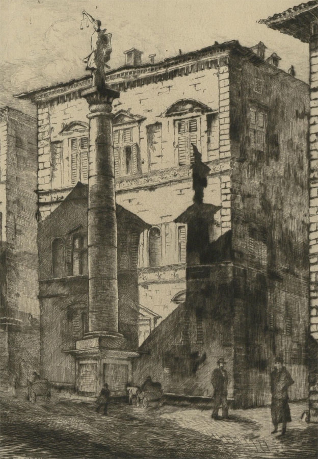 J.A. Neamr - Early 20th Century Etching, Florence Street Scene