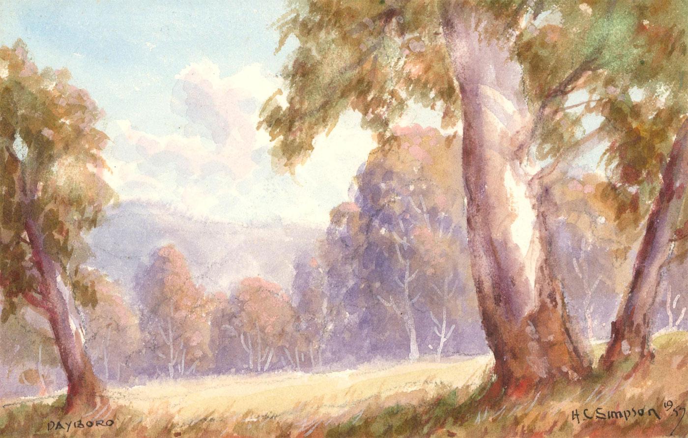 Herbert Clarke Simpson (1879-1966) - 1957 Watercolour, Landscape with Trees