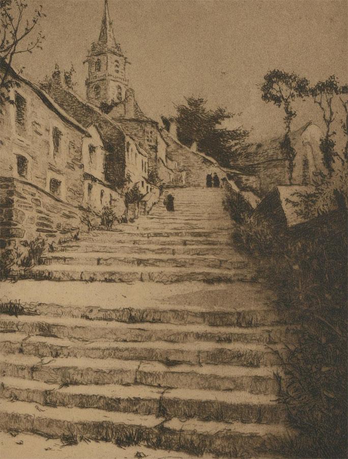 Van Weyenbergh Family Portfolio - 1934 Etching, Old Steps in Belgium