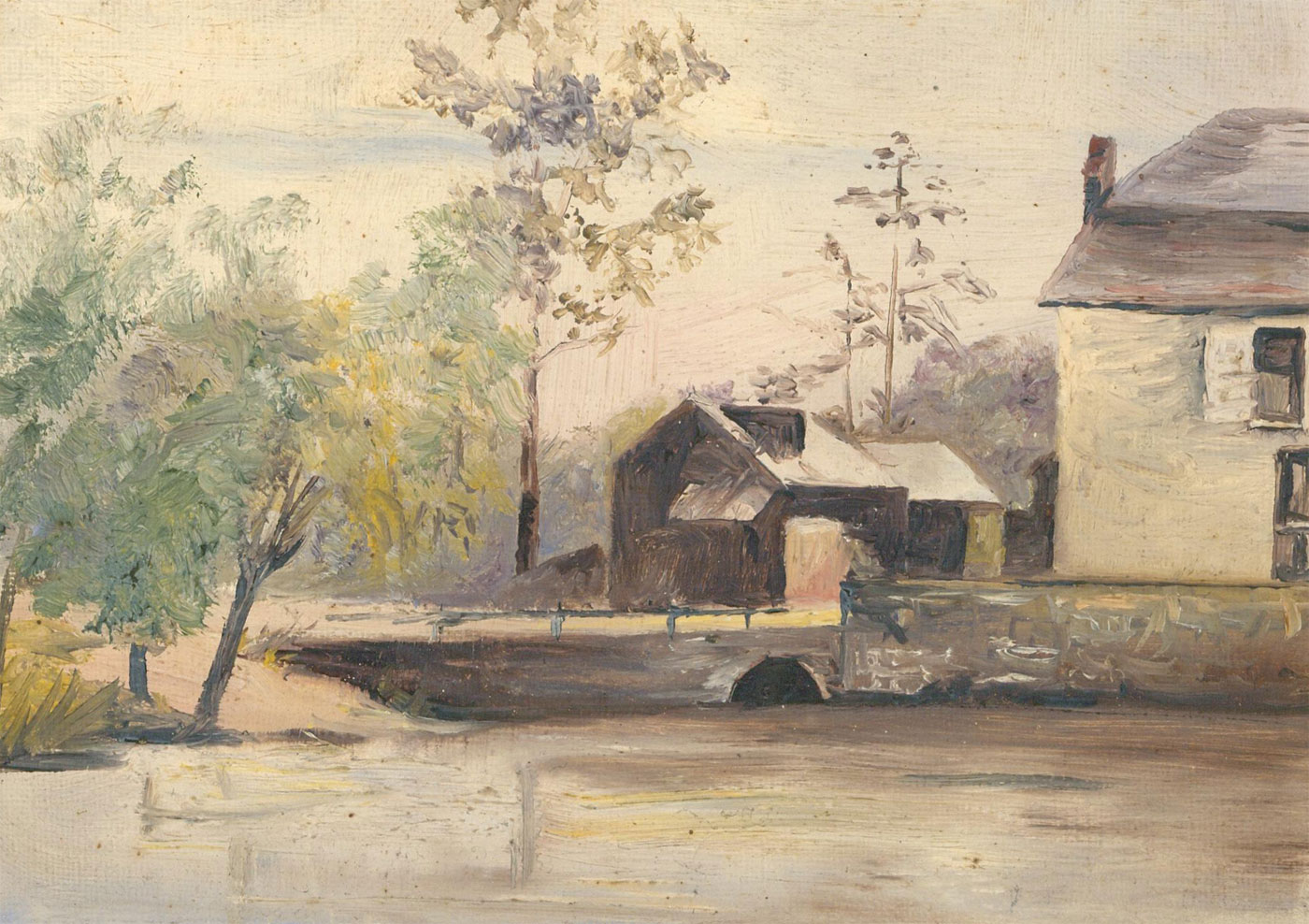 Miniature Late 19th Century Oil - Rivr Scene with Cottage